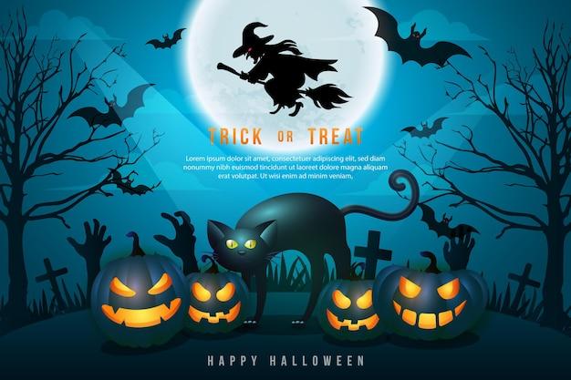 満月の夜の墓地の背景を持つ幸せなハロウィーンの3dリアルな怖いジャックランタンと黒猫