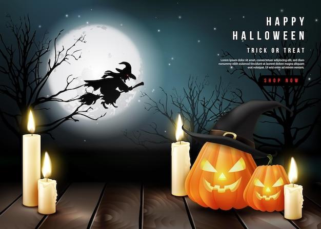 満月の夜の背景を持つ幸せなハロウィーンの3dリアルな怖いジャックランタンとキャンドル