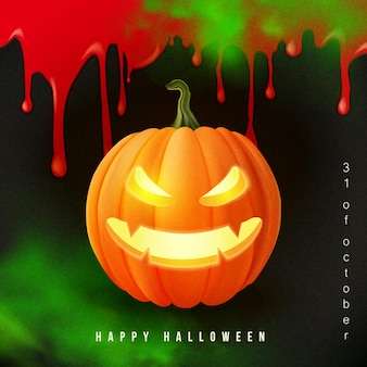 Happy halloween 3d realistic scary jack lantern and bloody background green poison smoke.