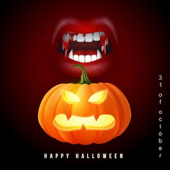 Happy halloween 3d realistic scary jack lantern and bloody vampire fangs