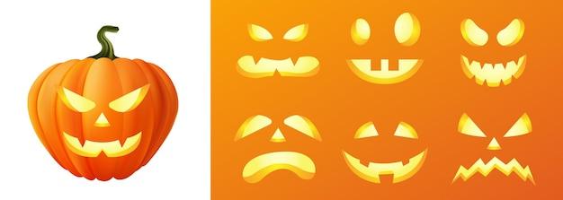 ハッピーハロウィン3dリアル怖いジャックランタン別の顔セットコレクション