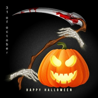 Happy halloween 3d realistic scary jack lantern and reaper's scythe