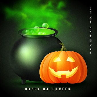 Happy halloween 3d realistic scary jack lantern and witch magic metal pot with green poison liquid