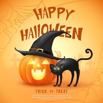 魔女の帽子と黒猫と幸せなハロウィーンの3dリアルな怖いジャックランタン