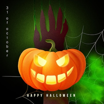 Happy halloween 3d realistic scary jack lantern and zombie hand scratch on the wall spider web green poison smoke