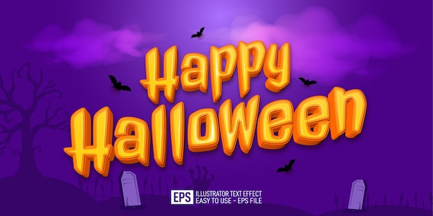 Happy halloween 3d text editable style effect template