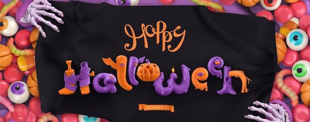 Happy halloween. 3d vector cartoon background
