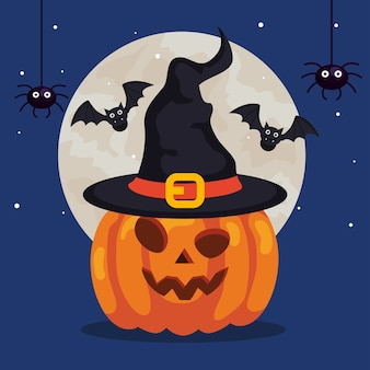 Счастливый хэллоуин и тыква с шляпой ведьмы, летучие мыши и пауки
