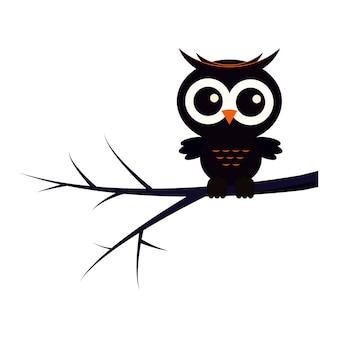 Happy halloween animal character illustration black cute owl sitting on tree branch.