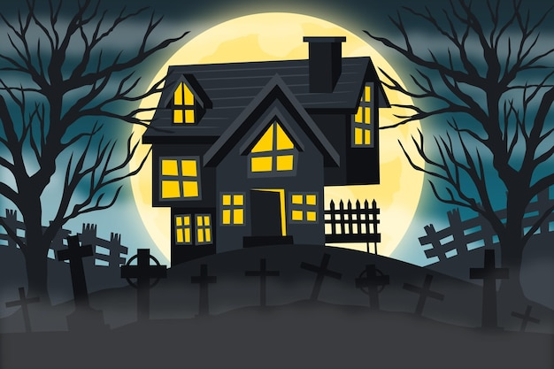 Happy halloween background drawn