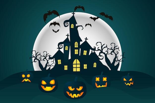 Счастливый фон хэллоуина хэллоуин тыквы жуткие деревья и дом с привидениями с лунным светом
