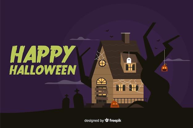 Счастливый хэллоуин фон в плоском дизайне