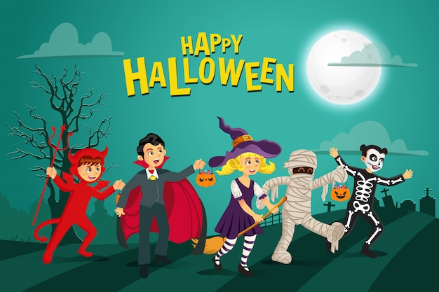 Happy halloween background. kids dressed in halloween costume to go trick or treating with green background