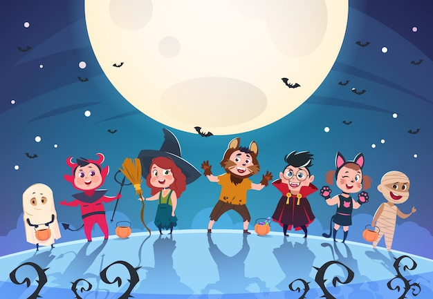 幸せなハロウィーンの背景。モンスターと衣装を着た子供たち。ハロウィーンパーティーのポスターや招待状のテンプレート