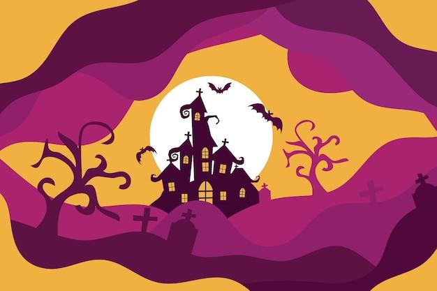 Счастливый хэллоуин фон или баннер с летучими мышами, жуткое дерево и замок с привидениями