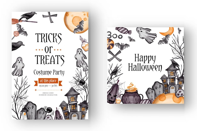 Happy halloween background, and party invitation flyer template with horror symbols pumpkin bones skull halloween background