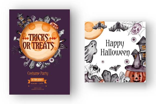 Felice sfondo di halloween e modello di volantino di invito alla festa con simboli horror teschio di ossa di zucca sfondo di halloween
