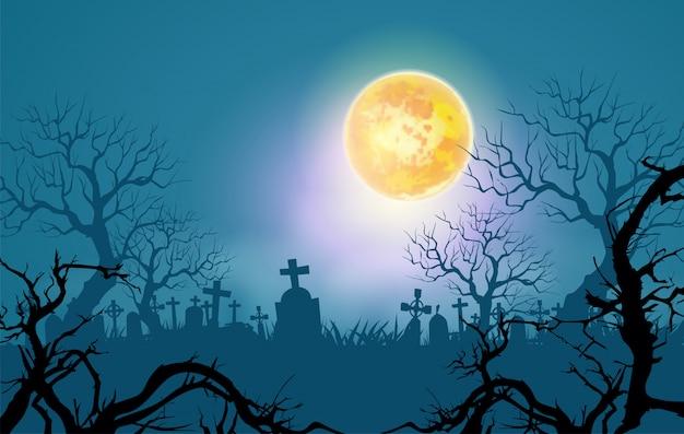 ハッピーハロウィン背景、枯れ木と月明かりの下で不気味な森