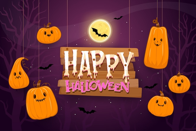 Happy halloween background template in the darkness with pumpkin