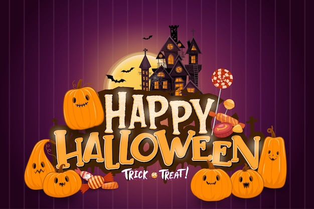 かぼちゃと暗闇の中でハッピーハロウィン背景テンプレート