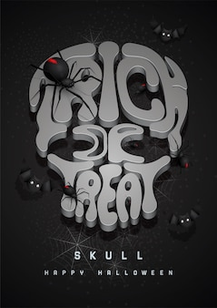 Happy halloween background with 3d font skull and spider