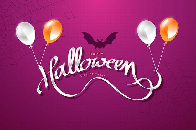 Счастливый хэллоуин фон с летучими мышами и красивым серебряным текстом