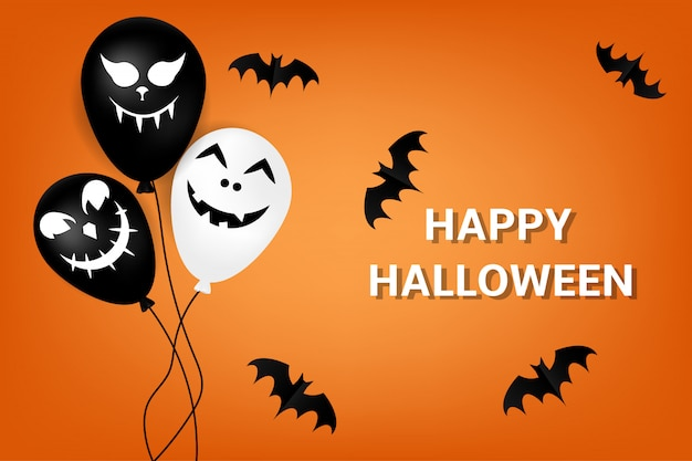 Happy halloween background with balloons and bats