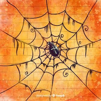 아름다운 거미줄과 해피 할로윈 배경