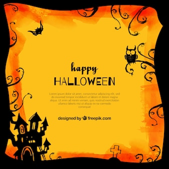 Happy halloween background with castle and owl