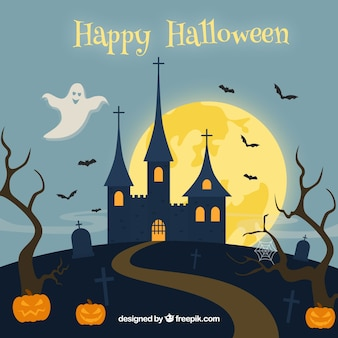 Happy halloween background with castle and pumpkins