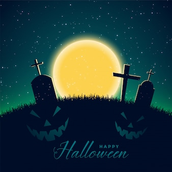 Happy halloween background with cemetery