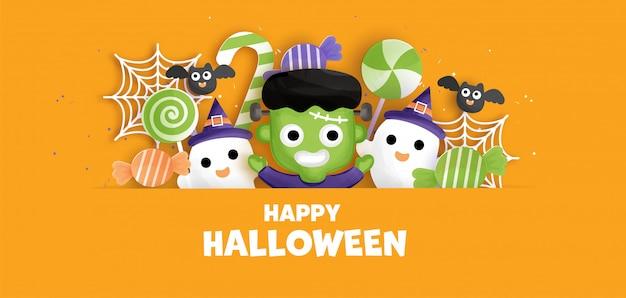 Happy halloween background with cute  frankenstein. .