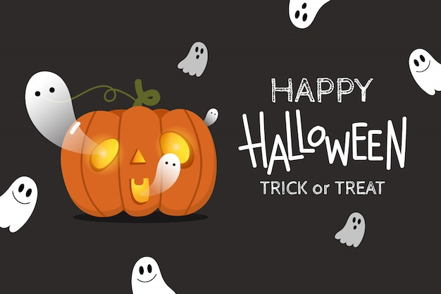 Happy halloween background with cute spooky ghosts and scary pumpkin .