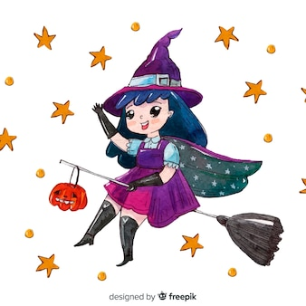 Happy halloween background with cute witch and stars