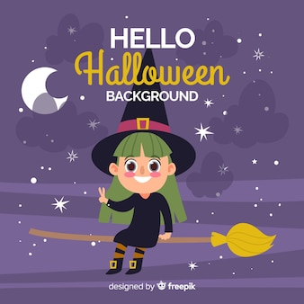 Happy halloween background with cute witch