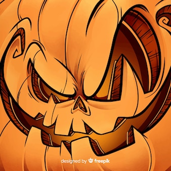 Happy halloween background with evil pumpkin face