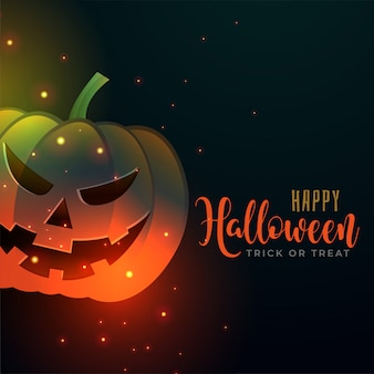 Happy halloween background with evil pumpkin