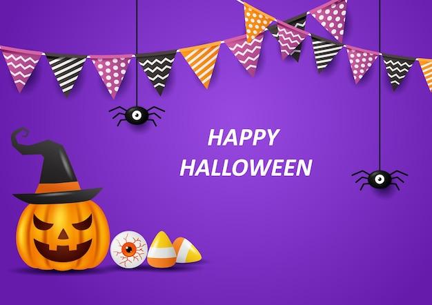 Счастливый хэллоуин фон с флагами векторные иллюстрации