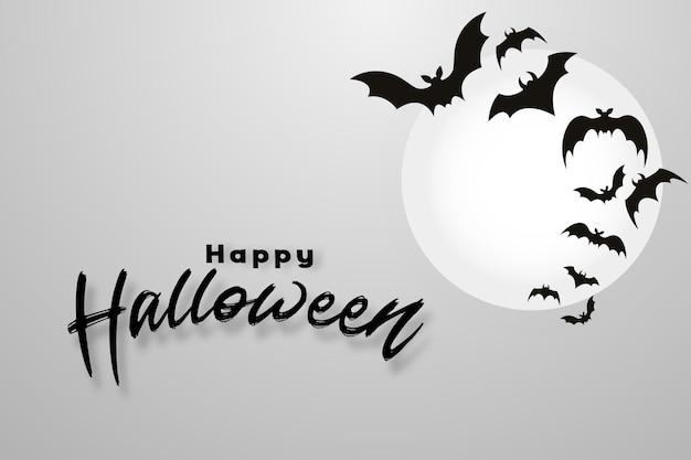 Счастливый хэллоуин фон с летающими летучими мышами и лунным светом