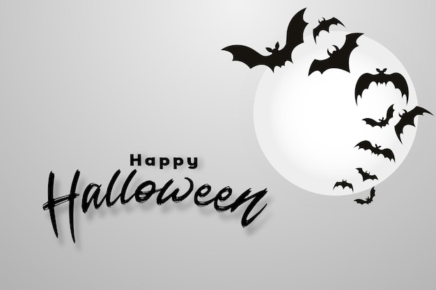 Happy halloween background with flying bats and moon light