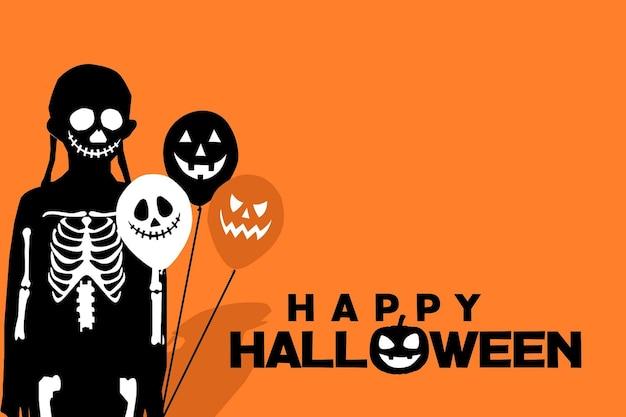 Счастливый хэллоуин фон с девушками и воздушным шаром