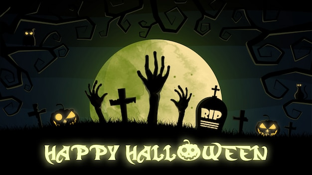 Happy halloween background with graveyard