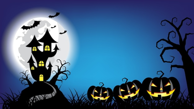 Happy halloween background with haunted house and evil pumpkins