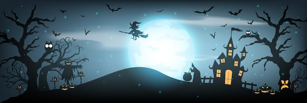 Happy halloween background with haunted house, full moon and witch.