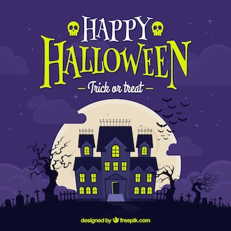 Happy halloween background with haunted house Free Vector