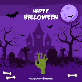 Happy halloween background with haunted house