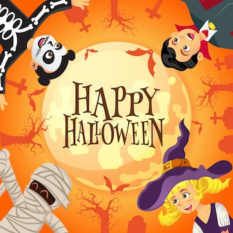Happy halloween background with kids dressed in halloween costume in graveyard and the full moon background
