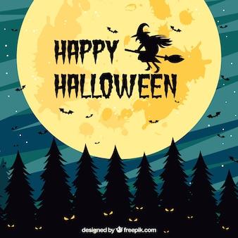 月と魔女とハッピーハロウィンの背景