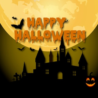 Happy halloween background with moon witch and bats