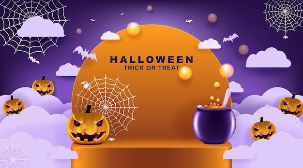 Счастливый хэллоуин фон с ночными облаками и тыквами в вырезке из бумаги искусства и ремесла